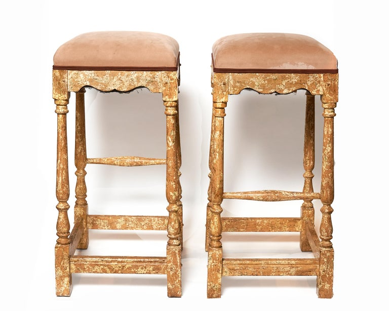 Pair of Minton-Spidell Custom Made Vintage Barstools In Good Condition For Sale In Plymouth, MA