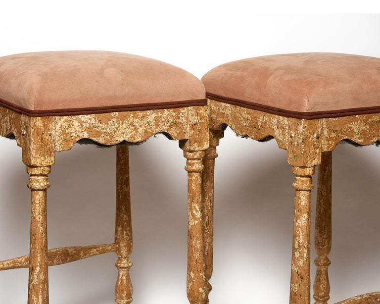 Contemporary Pair of Minton-Spidell Custom Made Vintage Barstools For Sale
