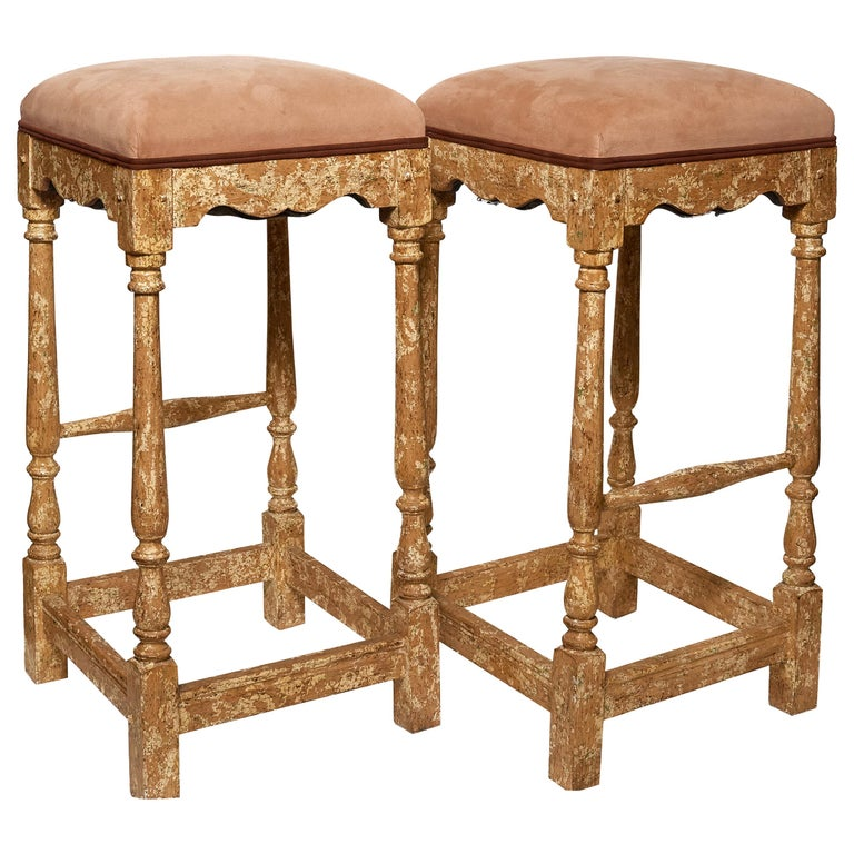 Pair of Minton-Spidell Custom Made Vintage Barstools For Sale