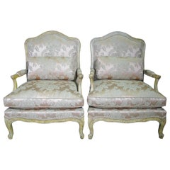 Pair of Minton-Spidell French Louis XV Style Open Armchairs
