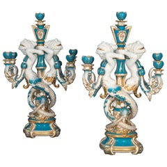 Pair of Minton Style Porcelain Candelabra