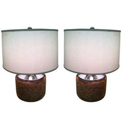 Pair of Mirror Chrome Cork Lamps