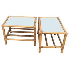 Pair of Mirror-Top Bamboo End Tables