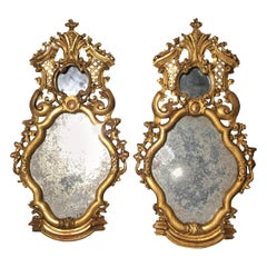Pair of Mirrored and Carved Giltwood Sconces, French, 19th Century with carving