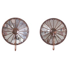 Pair of Mirrored and Copper Wall Sconces