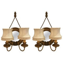 Pair of Mirrored and Giltwood Two Light Bullseye Sconces NYC, circa 1910