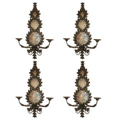 Pair of Mirrored and Metal Candle Sconces