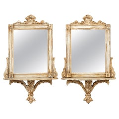 Pair of Mirrored Back Wall Shelves