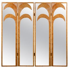 Pair of Mirrored Bamboo Rattan Palm Tree Folding Screens by Vivai del Sud, Italy