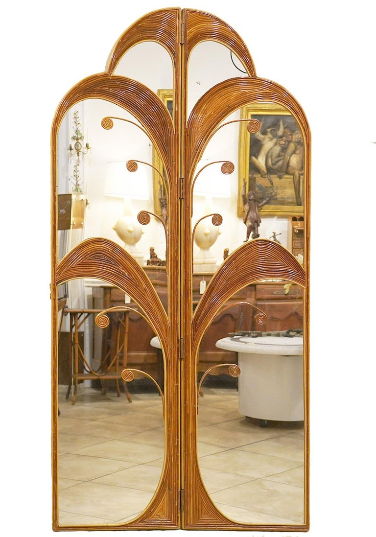 Mid-Century Modern Pair of Mirrored Bamboo Rattan Palm Tree Folding Screens Style of Vivai del Sud For Sale