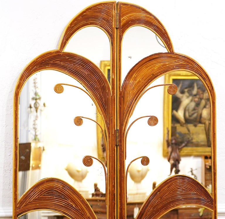 Italian Pair of Mirrored Bamboo Rattan Palm Tree Folding Screens Style of Vivai del Sud For Sale