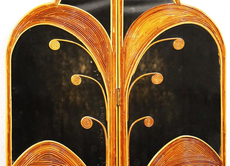 Pair of Mirrored Bamboo Rattan Palm Tree Folding Screens Style of Vivai del Sud For Sale 1