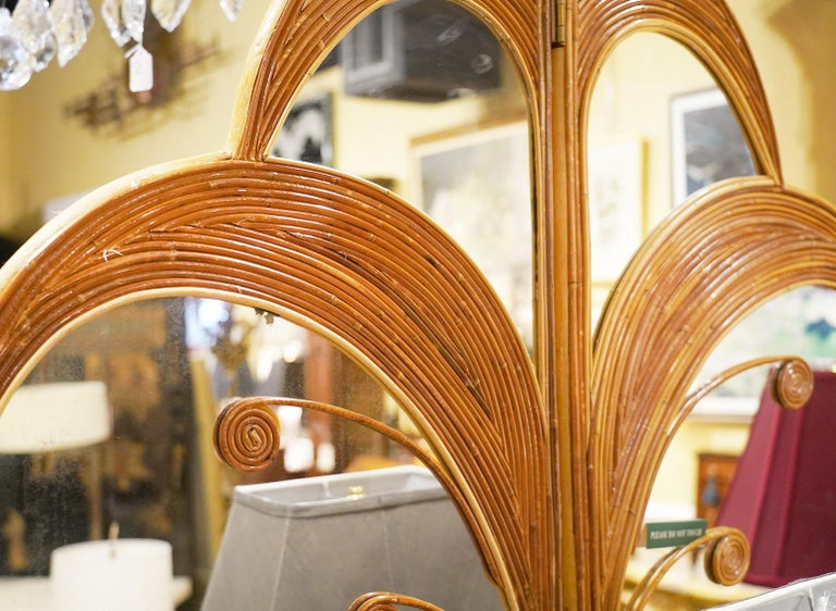 Pair of Mirrored Bamboo Rattan Palm Tree Folding Screens Style of Vivai del Sud 3