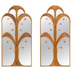 Pair of Mirrored Bamboo Rattan Palm Tree Folding Screens Style of Vivai del Sud
