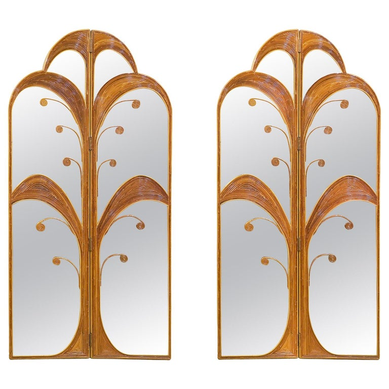 Pair of Mirrored Bamboo Rattan Palm Tree Folding Screens Style of Vivai del Sud For Sale