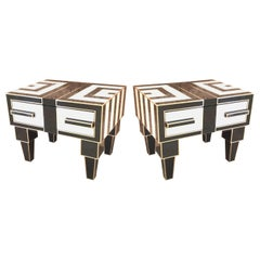 Pair of Mirrored and Brass Nightstands with One-Drawer in Black and White