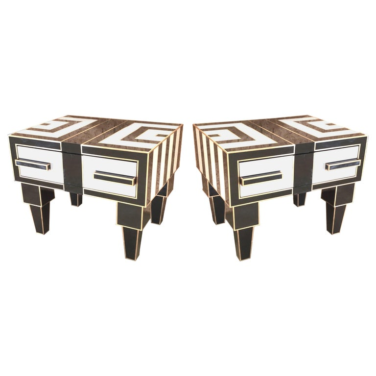 Pair of Mirrored and Brass Nightstands with One-Drawer in Black and White For Sale