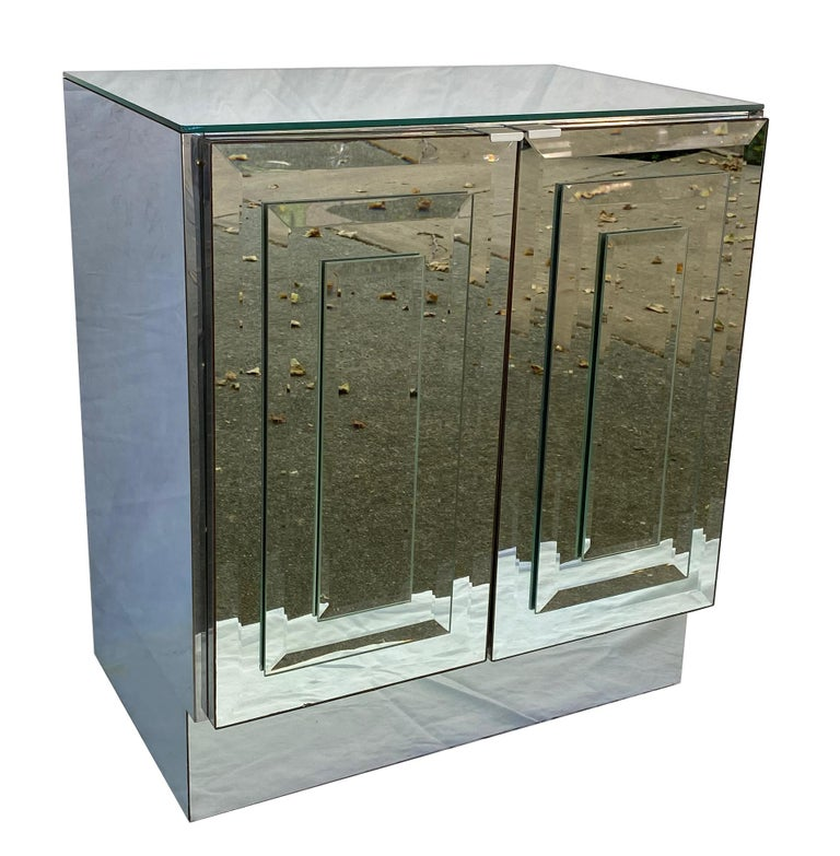 Mid-Century Modern Pair of Mirrored Cabinets or Nightstands by Ello Furniture For Sale