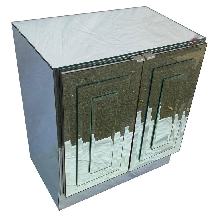 American Pair of Mirrored Cabinets or Nightstands by Ello Furniture For Sale