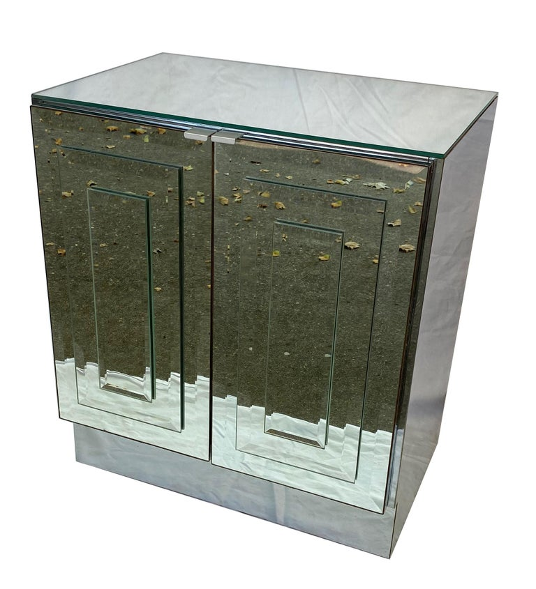 Beveled Pair of Mirrored Cabinets or Nightstands by Ello Furniture For Sale