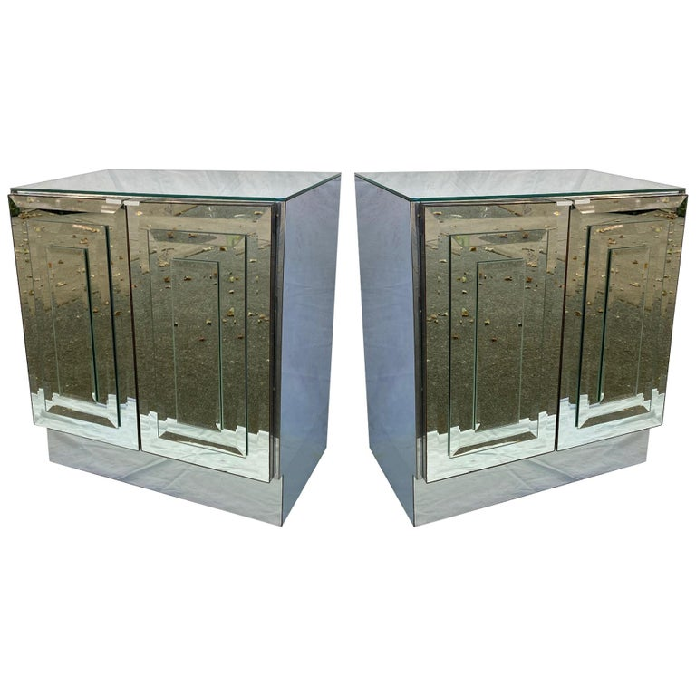 Pair of Mirrored Cabinets or Nightstands by Ello Furniture For Sale