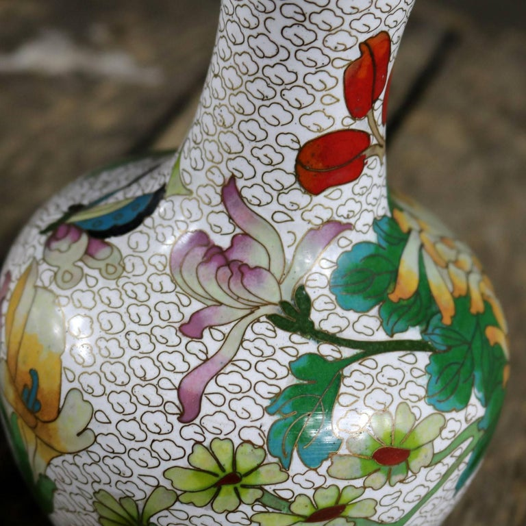 Pair of Mirrored Design White Cloisonné Vases Multicolored Floral and Butterfly For Sale 5