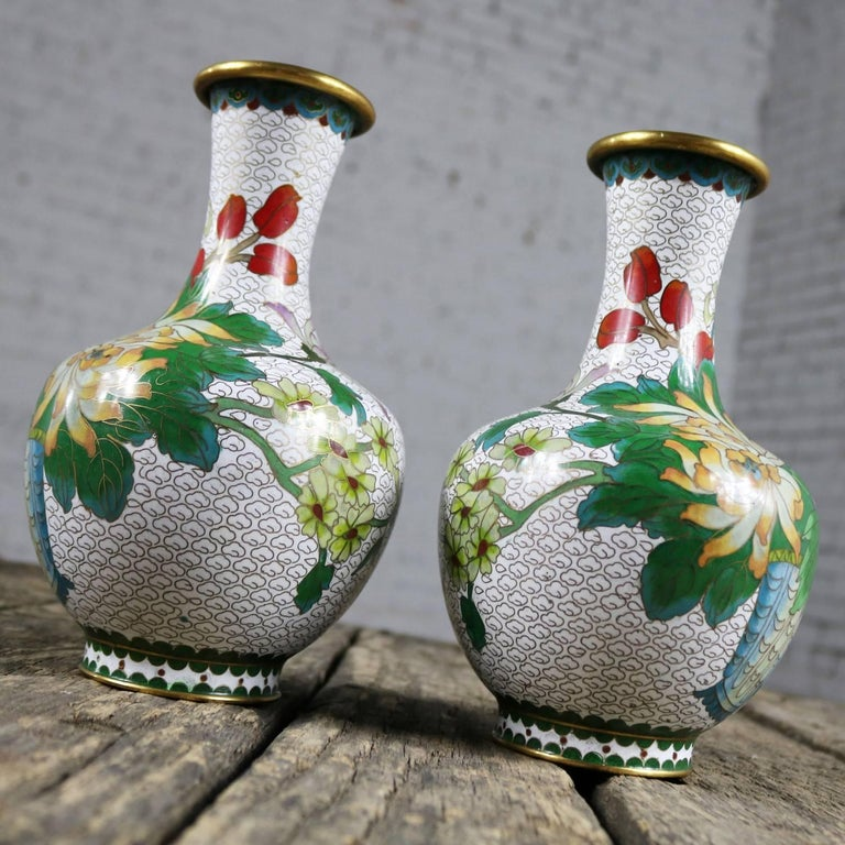 20th Century Pair of Mirrored Design White Cloisonné Vases Multicolored Floral and Butterfly For Sale