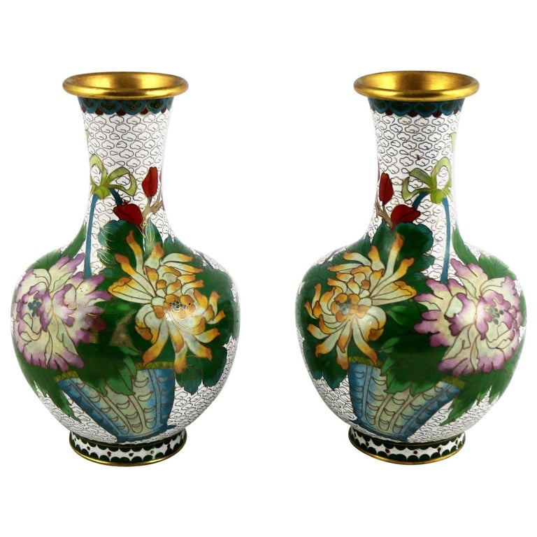 Pair of Mirrored Design White Cloisonné Vases Multicolored Floral and Butterfly For Sale