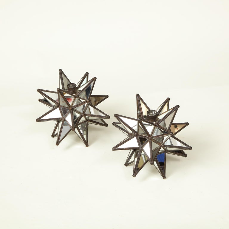 Modern Pair of Mirrored Glass Star Candleholders For Sale