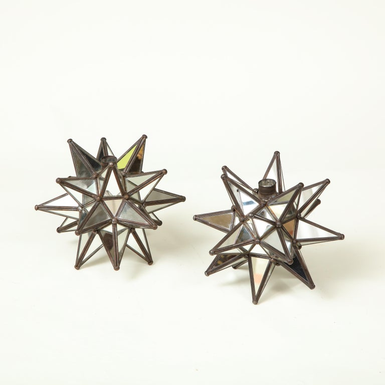 American Pair of Mirrored Glass Star Candleholders For Sale