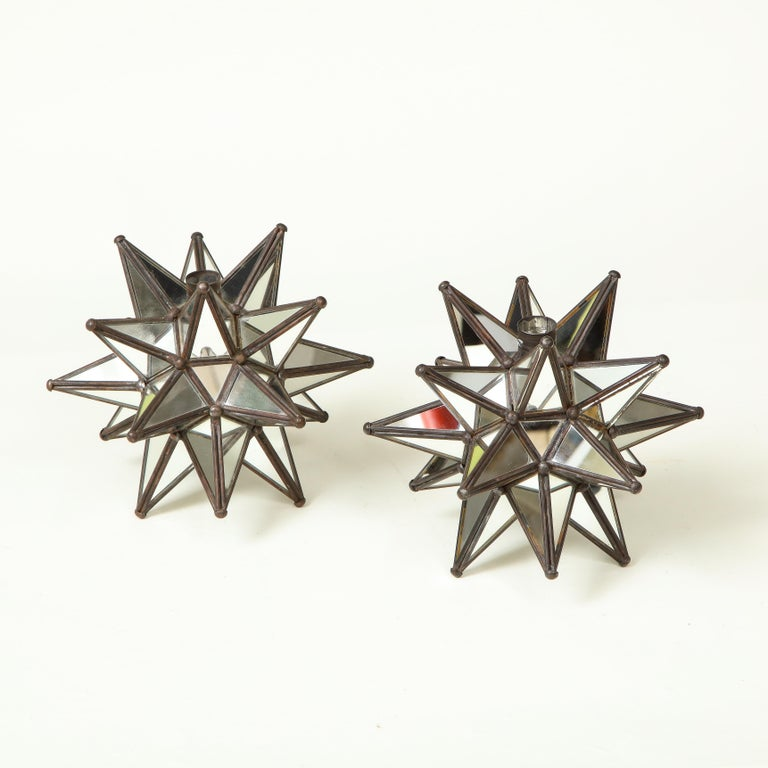 Pair of Mirrored Glass Star Candleholders In Excellent Condition For Sale In New York, NY