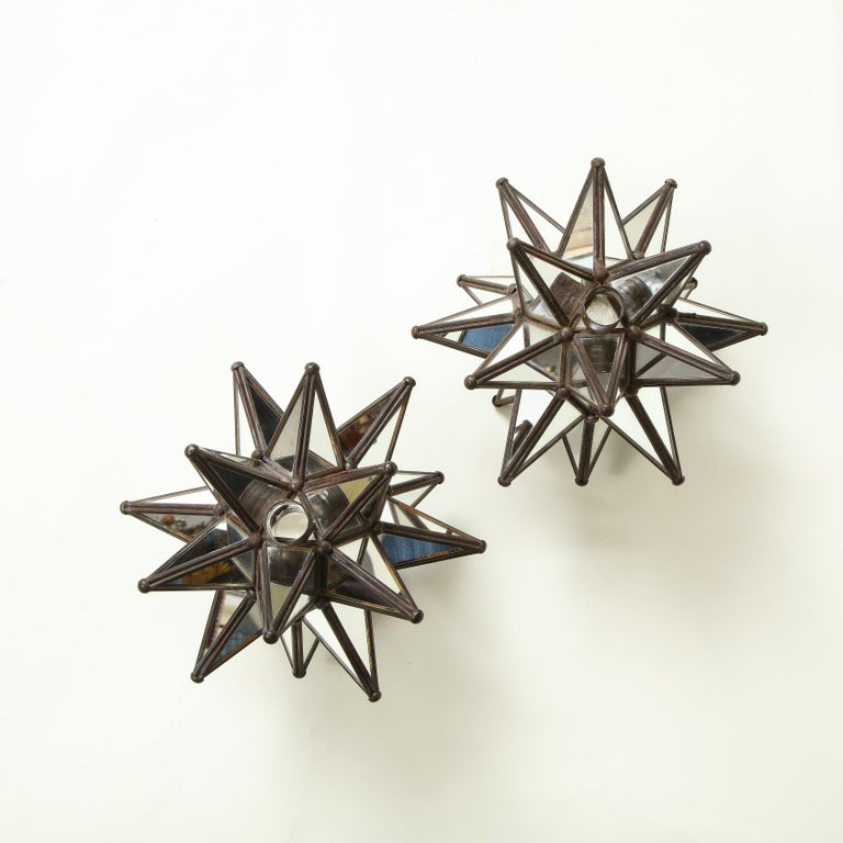 20th Century Pair of Mirrored Glass Star Candleholders For Sale