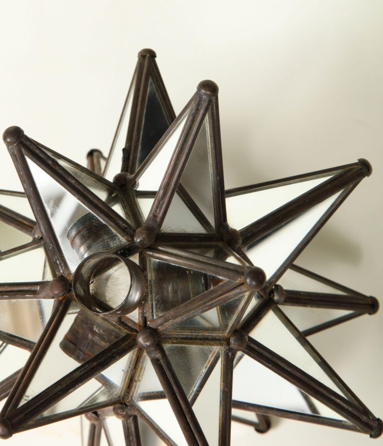 Pair of Mirrored Glass Star Candleholders For Sale 2