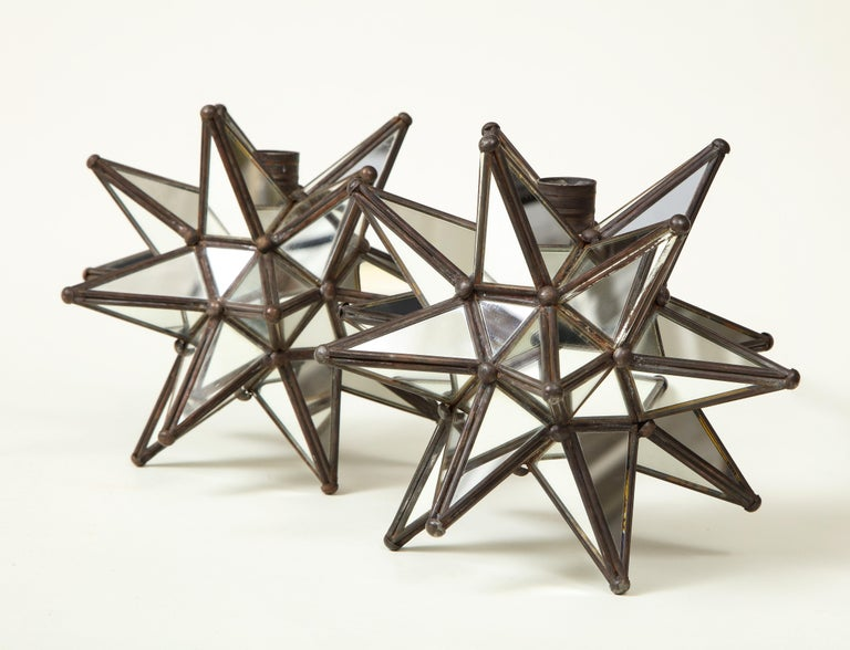 Pair of Mirrored Glass Star Candleholders For Sale 3