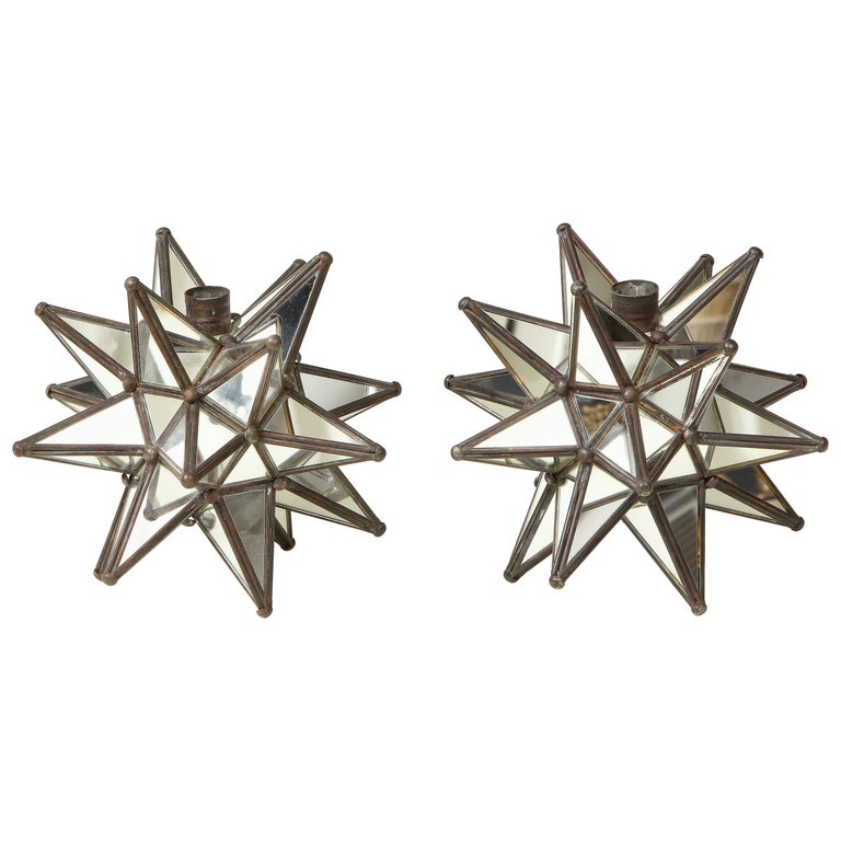 Pair of Mirrored Glass Star Candleholders For Sale