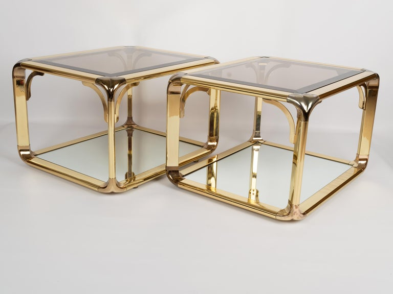 Pair of Mirrored Gold Chrome End Tables / Side Tables, Belgium, circa 1970 For Sale 3