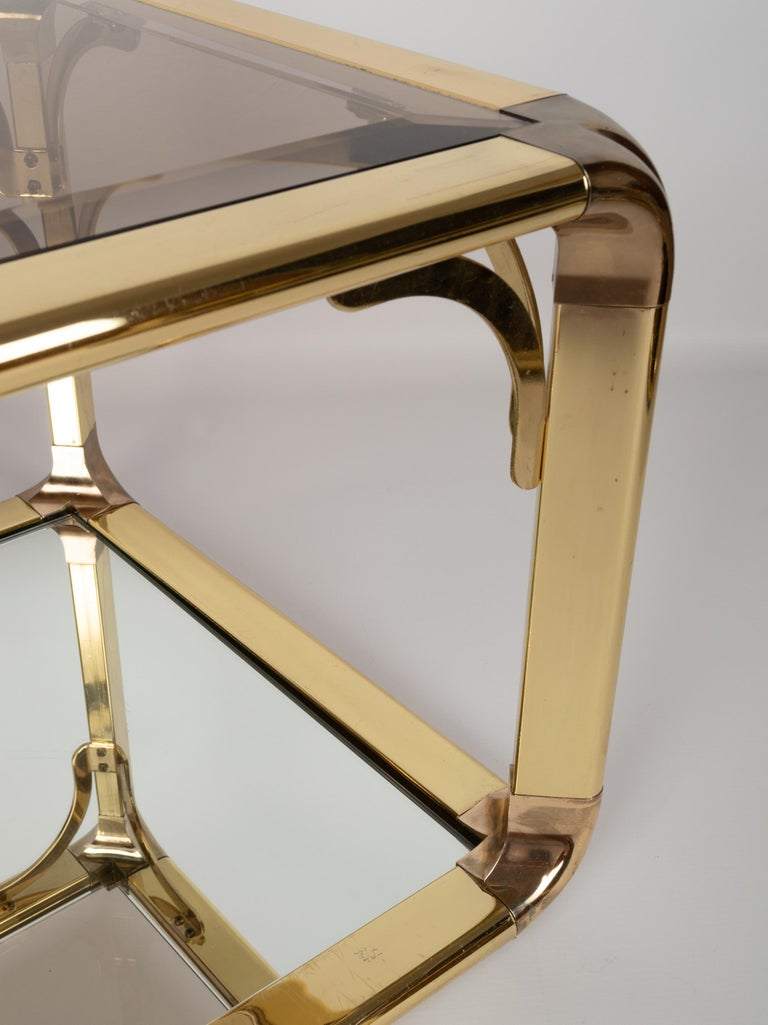 Pair of Mirrored Gold Chrome End Tables / Side Tables, Belgium, circa 1970 For Sale 4