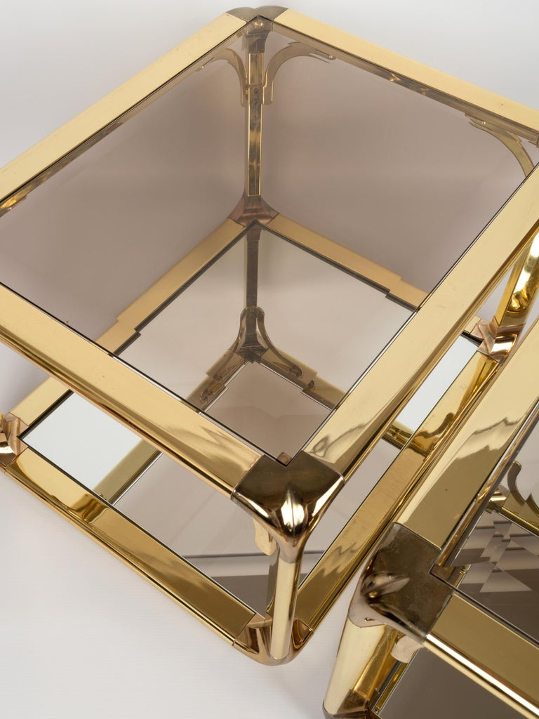 Pair of Mirrored Gold Chrome End Tables / Side Tables, Belgium, circa 1970 For Sale 5
