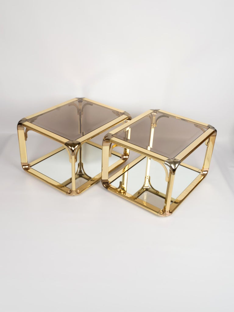 Pair of Mirrored Gold Chrome End Tables / Side Tables, Belgium, circa 1970 For Sale 6