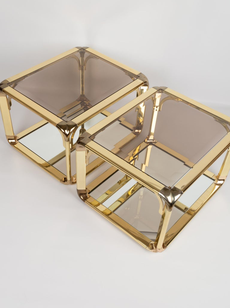 Hollywood Regency Pair of Mirrored Gold Chrome End Tables / Side Tables, Belgium, circa 1970 For Sale