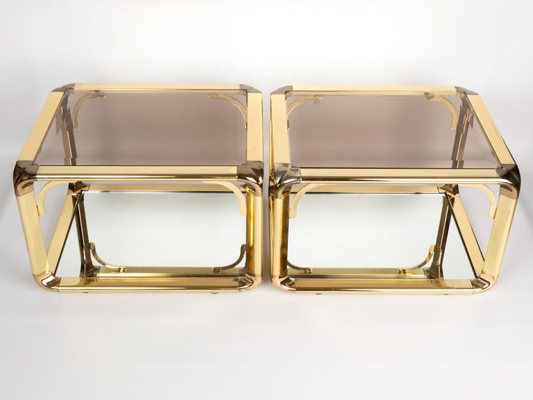 Belgian Pair of Mirrored Gold Chrome End Tables / Side Tables, Belgium, circa 1970 For Sale