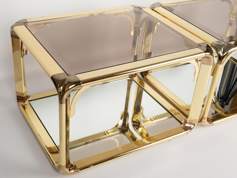 Pair of Mirrored Gold Chrome End Tables / Side Tables, Belgium, circa 1970 In Good Condition For Sale In London, GB