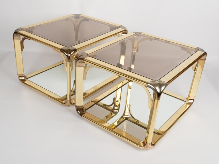 Late 20th Century Pair of Mirrored Gold Chrome End Tables / Side Tables, Belgium, circa 1970 For Sale