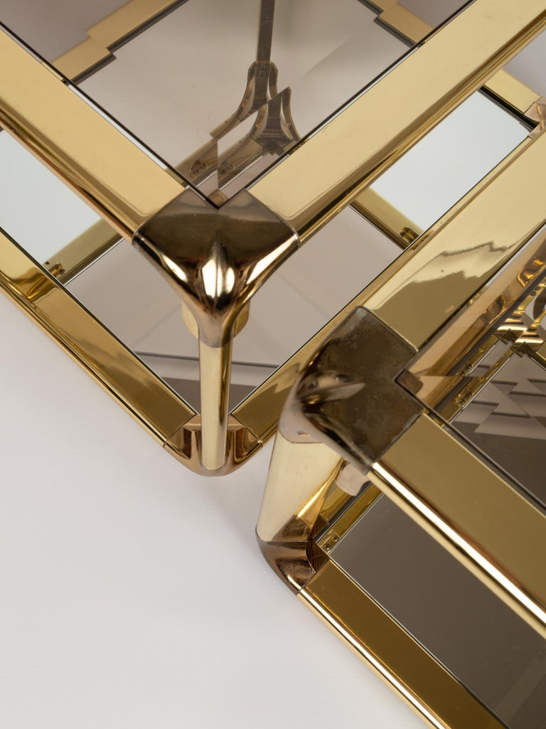 Glass Pair of Mirrored Gold Chrome End Tables / Side Tables, Belgium, circa 1970 For Sale