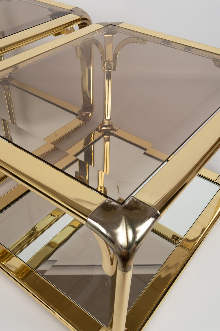 Pair of Mirrored Gold Chrome End Tables / Side Tables, Belgium, circa 1970 For Sale 1