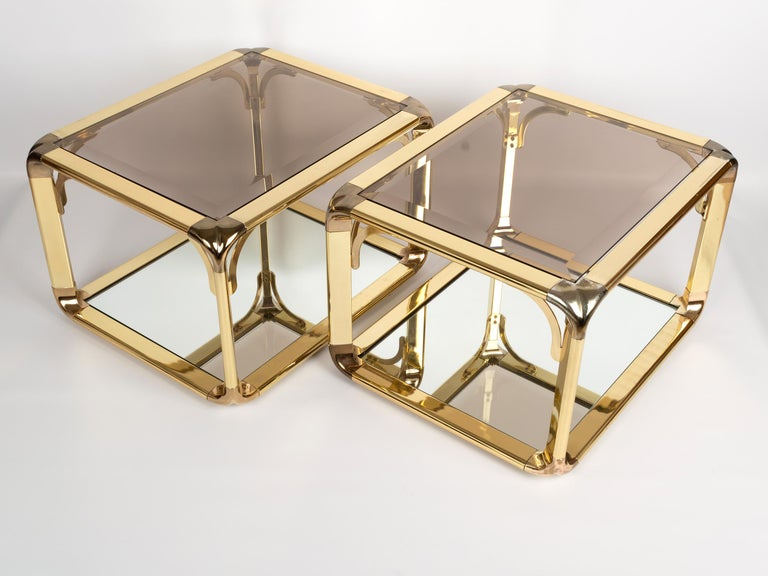Pair of Mirrored Gold Chrome End Tables / Side Tables, Belgium, circa 1970 For Sale 2
