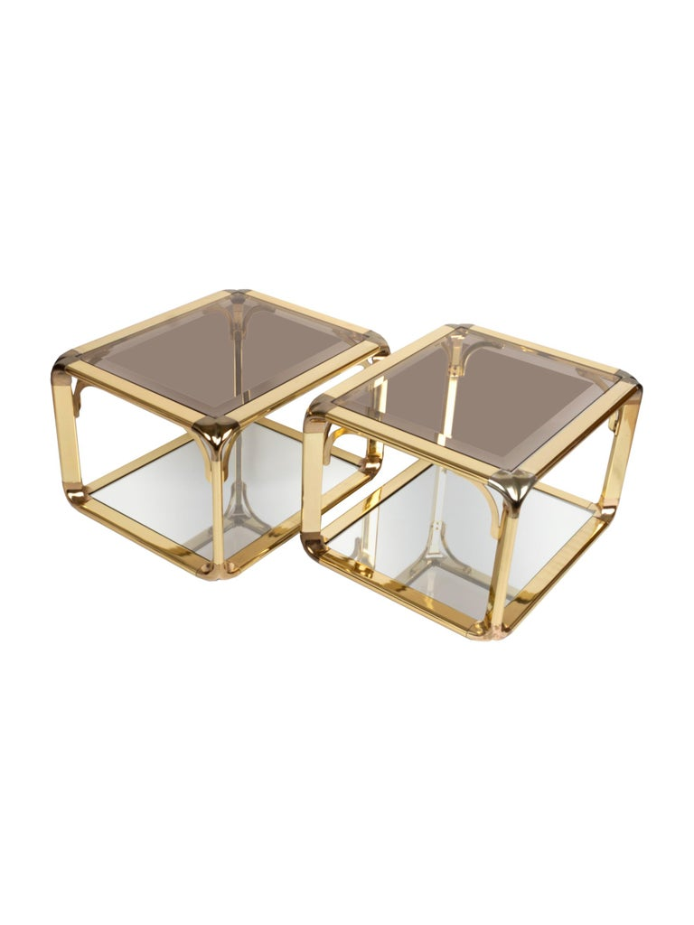 Pair of Mirrored Gold Chrome End Tables / Side Tables, Belgium, circa 1970 For Sale