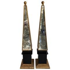 Pair of Mirrored Obelisk