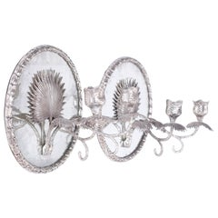 Pair of Mirrored Palm Leaf Wall Sconces