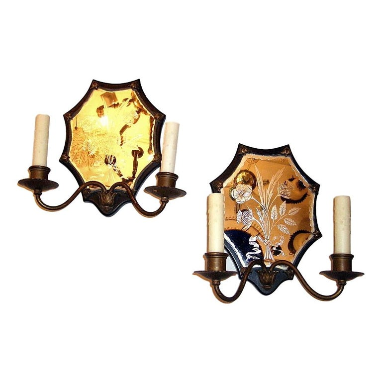 Pair of Mirrored Sconces For Sale
